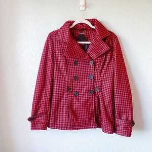 Jou Jou Houndstooth Red Black Peacoat Size Large